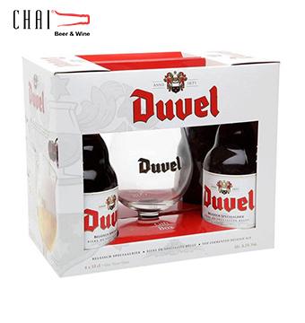 Hộp quà bia Duvel 330ml/ Bia nhập khẩu Bỉ (2 chai và 1 ly)