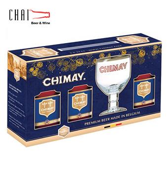 Hộp quà bia Chimay xanh (3 chai + 1 ly) 9%vol/ Bia Bỉ nhập khẩu