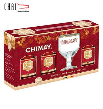 Hộp quà bia Chimay đỏ (3chai + 1 ly) 330ml 7% vol/ Bia Bỉ nhập khẩu